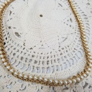 Vintage Signed MONET Gold Tone NECKLACE faux Pearl